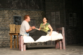 Dave Arnold and Christina Myatt rehearse Les Miserables
