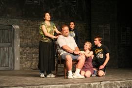 Christina Myatt, Dave Arnold, Elise Castro, Sydney Crumbleholme, and Kyle DeFauw rehearse Les Miserables