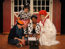 Chris Causer, Megan Opalinski, Antoinette Holman, and Andrea Moore in Click, Clack, Moo: Cows That Type