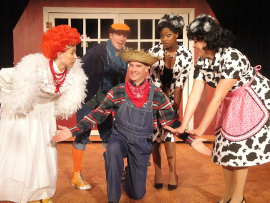 Andrea Moore, Chris Causer, Brad Hauskins, Antoinette Holman, and Megan Opalinski in Click, Clack, Moo: Cows That Type