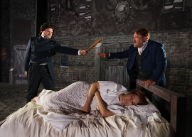 Brian Peterson, Christina Myatt, and David Arnold in Les Miserables
