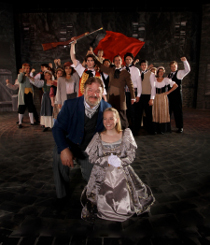 David Arnold, Sydney Crumbleholme, and Les Miserables ensemble members