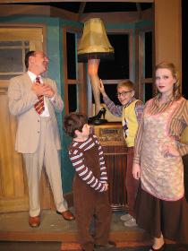 Tom Walljasper, Gage McCalester, Ben Klocke, and Kate Turner in A Christmas Story: The Musical