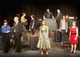 Angela Elliott, Patrick Gimm, Don Denton, Erin Churchill, Kim Furness, James Fairchild, Mark Ruebling, Allison Swanson, and Sara Tubbs in Last Call: The Songs of Stephen Sondheim