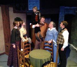Martha Behnke, Lauren VanSpeybroeck, Lillian Cobert, James Fairchild, Dolores Sierra, and Aaron Lord in A Christmas Carol