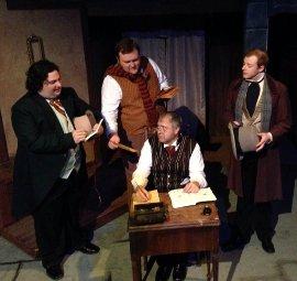 Joe Maubach, James Fairchild, Doug Kutzli, and Tristan Layne Tapscott in A Christmas Carol