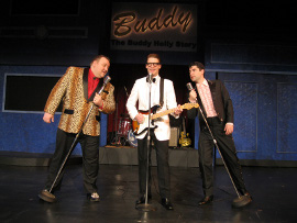 James Fairchild, Dalen Gunn, and Collin O'Connor in Buddy: The Buddy Holly Story