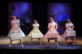 Jenna Haimes, Sarah Randall, Carly Ann Berg, and Heather Baisley in The Taffetas; photo by Jean Black