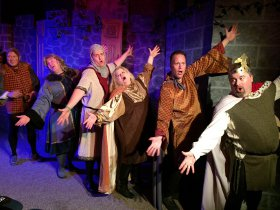 Doug Kutzli, Chris Tracy, Matt Holmes, Wendy Czekalski, Mike kelly, and Bob Manasco in Monty Python's Spamalot