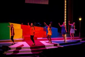 Caroline Murrah, Melissa Weyn, Daryn Harrell, Lexie Plath, and Allison Hunt in Shout! The Mod Musical