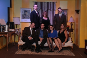 Shawn Sutton, David Lane, Melissa Hummel, Jamie Bauschka (front row), Eric Landuyt, Terri Bauschka, and Victor Angelo (back row) in Marrying Terry