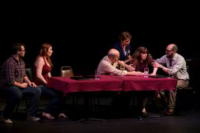 Cullen Rogers, Paige ManWaring, Brian Pauley, Judy Knudtson, Brigitte Ditmars, and Matt W. Miles in The Big Meal