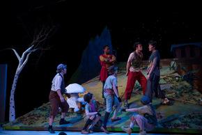 Chandler Smith, Eli Emmitt, Samuel Leicht, Tyler Klingbiel, Cecelia Ryan, Jaguer Heier, and Daxtun Heier in Peter Pan
