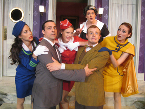 Cara Moretto, Cory Boughton, Jacqueline Keeley, Elizabeth Loos, Tristan Tapscott, and Theresa McGuirk in Boeing-Boeing