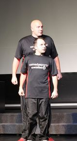 ComedySportz's Brent Tubbs (front) and Patrick Adamson