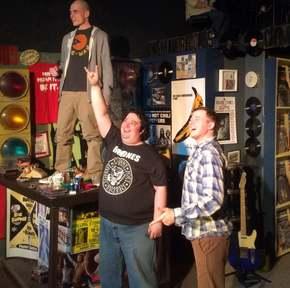 Anthony Natarelli, Joe Maubach, and Tristan Tapscott in the District Theatre's High Fidelity