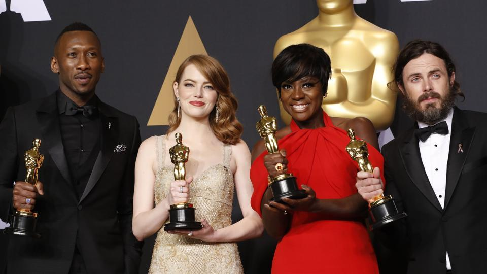 Best Supporting Actor Mahershala Ali, Best Actress Emma Stone, Best Supporting Actress Viola Davis, and Best Actor Casey Affleck