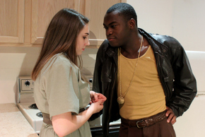 Sarah Baker and Debo Balogun in Getting Out, photo courtesy of the Augustana Photo Bureau