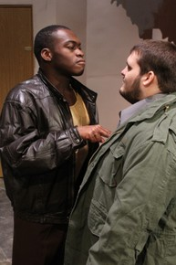 Debo Balogun and Samuel Langellier in Getting Out, photo courtesy of the Augustana Photo Bureau