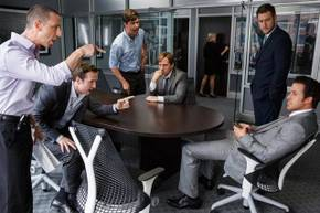 Jeremy Strong, Rafe Spall, Hamish Linklater, Steve Carell, Jeffry Griffin, and Ryan Gosling in The Big Short