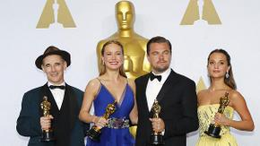 Best Supporting Actor Mark Rylance, Best Actress Brie Larson, Best Actor Leonardo DiCaprio, and Best Supporting Actress Alicia Vikander