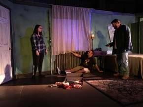Olivia Lyman, Jordan McGinnis, and Brant Peitersen in A Behanding in Spokane
