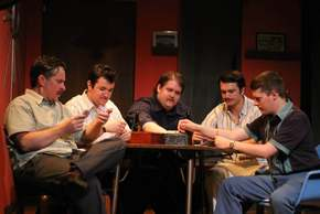 Matthew Teague Miller, Cash Maciel, Otis Jeffries, Jon Loya, and Derrick Bertram in The Odd Couple