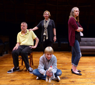 Don Faust, Lona Friedman, Mara Lowe, and Aidan Grafft in Flowers for Algernon