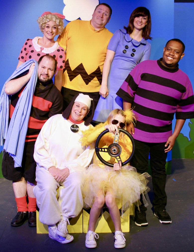 (clockwise from left) Adam Cunningham, Sara Tubbs, Christopher Tracy, Becca Johnson, Keenen Wilson, Makenna Miller, and Nancy Teerlinck in You're a Good Man, Charlie Brown
