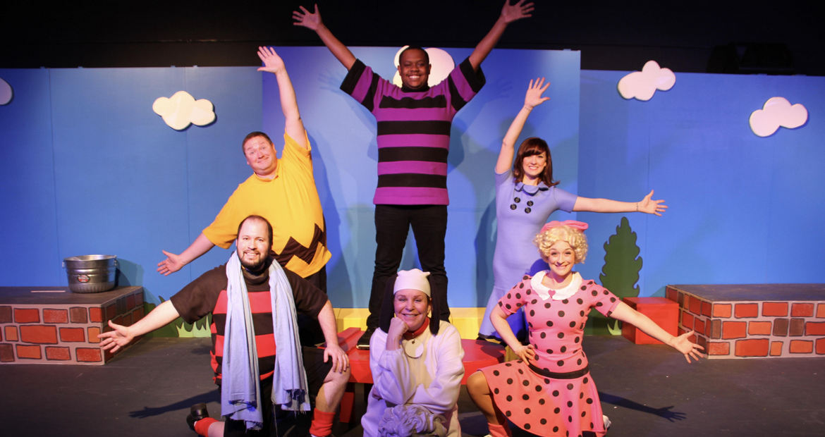 (clockwise from left) Adam Cunningham, Christopher Tracy, Keenen Wilson, Becca Johnson, Sara Tubbs, and Nancy Teerlinck in You're a Good Man, Charlie Brown