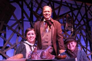 Jennifer Sondgeroth, Kevin Pieper, and Alex King in A Christmas Carol