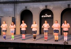 Amanda Wales, Rowan Crow, Katie Ross, Sarah Ebener, Anna Tunnicliff, Kathryn Wherry, and Kayla McKay in The Acharnians