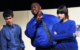Eric Clark, Isaac Scott, and Victoria Armas in Don't Talk to the Actors