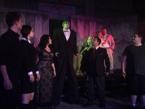 Anthony Natarelli, Liv Lyman, Erin Platt, Sara Wegener, Nancy Teerlinck, Jason Platt, Jennifer Sondgeroth, David Miller, and Christopher Tracy in The Addams Family