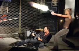 Christian Slater and Tara Reid in Alone in the Dark