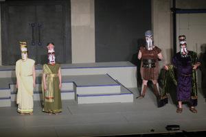 Andrea Braddy, Mattie Gelaude, Doug Adkins, and Bob Hanske in Antigone