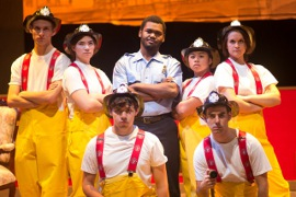 Luke Currie, Leslie Kane, Jaylen Marks, Macy Hernandez and Elyssa Lemay (top row), and Corbin Delgado and Bill Cahill (bottom row) in The Arsonists; photo by Long Nguyen