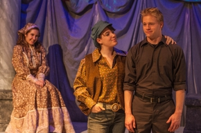 Jessica Holzknecht, Rowan Crow, and Keenan Odenkirk in As You Like It; photo courtesy of Augustana Photo Bureau/Nadia Panasky '17