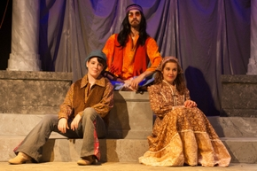 Rowan Crow, John D'Aversa, and Jessica Holzknecht in As You Like It; photo courtesy of Augustana Photo Bureau/Nadia Panasky '17