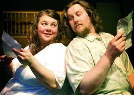 Cait Bodenbender and Aaron E. Sullivan in Much Ado About Nothing
