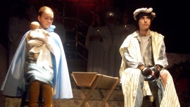 Sarah Stephan and Noah Strausser in The Best Christmas Pageant Ever
