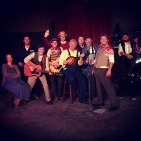Linda Ruebling, Brant Peitersen, Tom Vaccaro, Anthony Natarelli, Mike Kelly, Mark Ruebling, Chris Tracy, Rocky Kampling, Aaron Lord, and Kyle Jecklin in Big Rock Candy Christmas