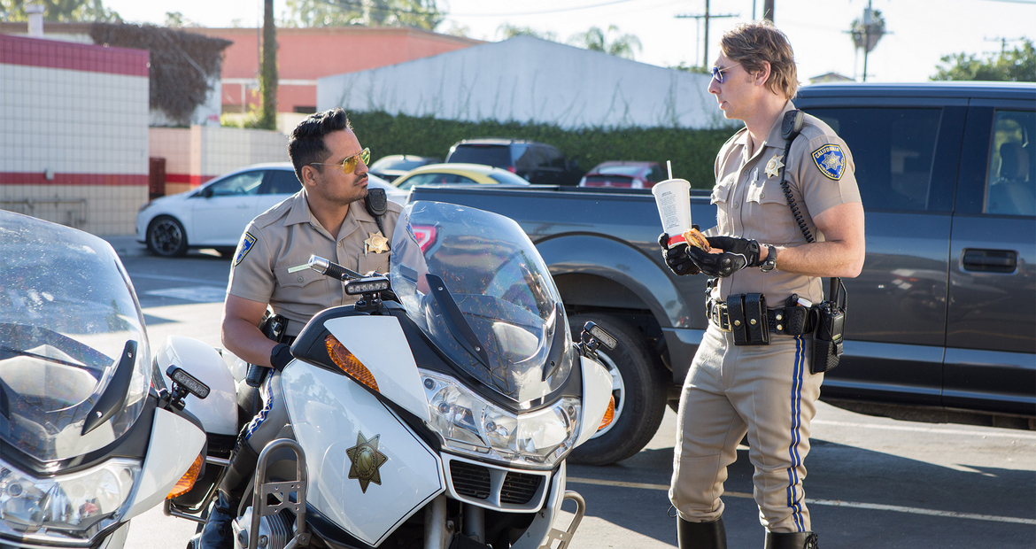Michael Pena and Dax Shepard in CHIPS