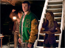 Fran Kranz, Chris Hemsworth, and Anna Hutchison in The Cabin in the Woods