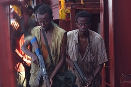 Barkhad Abdi and Faysal Ahmed in Captain Phillips