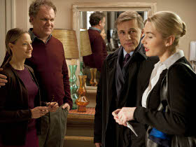 John C. Reilly, Jodie Foster, Christoph Waltz, and Kate Winslet in Carnage