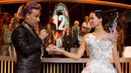 Stanley Tucci and Jennifer Lawrence in The Hunger Games: Catching Fire
