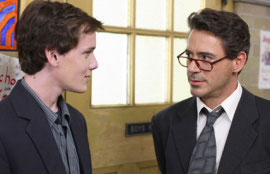 Anton Yelchin and Robert Downey Jr. in Charlie Bartlett