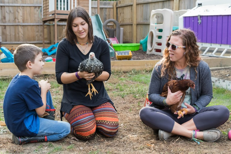 Liz Smith (center), her eight-year-old son Remy, and Mary Petersen with two of Smith's chickens in Moline.