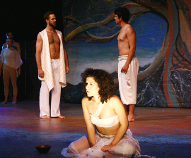 Brandon Ford, Erica Vlahinos, and Patrick Connaghan in Children of Eden